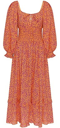 Peony Swimwear Garden Party Smocked Midi Dress