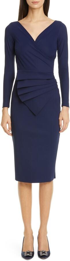 Chiara Boni Kaya Long Sleeve Ruffle Cocktail Dress