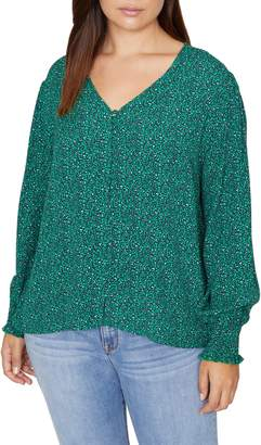 Sanctuary Noelle Print Smocked Cuff Blouse