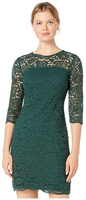 Lauren Ralph Lauren Piazza Floral Lace Paymer 3/4 Sleeve Day Dress (Dark Fern) Women's Clothing