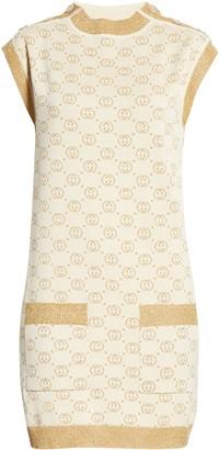 Gucci Interlocking-G Metallic Jacquard Wool Blend Sweater Minidress