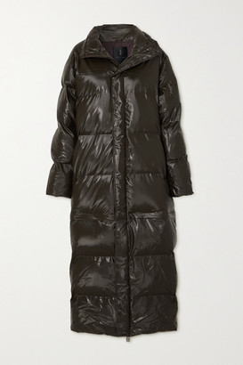 Rains Convertible Quilted Padded Glossed-shell Coat - Brown