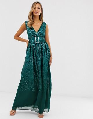 City Goddess sequin rhinestone belted maxi dress-Green