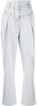 Alberta Ferretti High-Rise Pleat Front Jeans