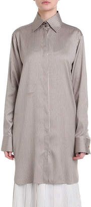 Fendi Pinstriped Silk Twill Long Shirt