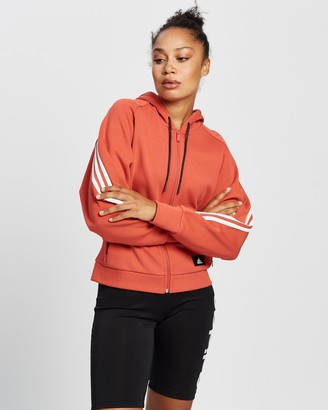 adidas Women's Red Hoodies - Wrapped 3-Stripes Full-Zip Hoodie - Size XS at The Iconic