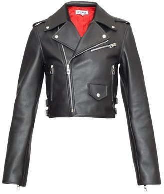 Loewe Cropped Leather Biker Jacket - Black
