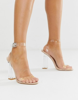Public Desire Alia clear strap heeled sandals-Beige