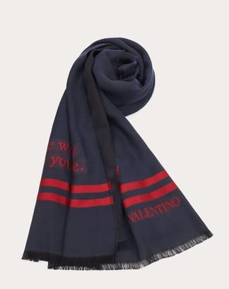 Valentino Garavani Uomo On Love Scarf In Wool, Cotton, And Silk Man Navy/ Red Silk 21%, Polyester 2% OneSize