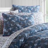 Camo Canvas Duvet Cover, Twin, Blue