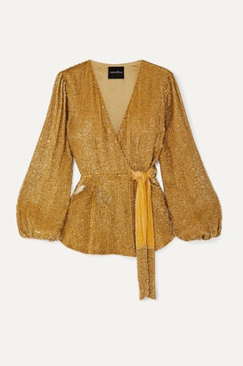 retrofete Bette Velvet-trimmed Sequined Chiffon Wrap Top - Gold