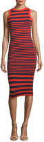 Milly Striped Ottoman Fitted Dress