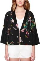 Willow & Clay Women's Floral Print Kimono Bomber Jacket