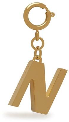 Mulberry Alphabet Brass Keyring - N Gold Zinc