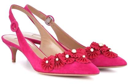 Aquazzura Exotic 45 suede slingback pumps