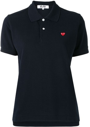 Comme des Garcons Heart-Embroidered Short-Sleeve Polo Shirt