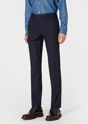 Paul Smith Men's Slim-Fit Navy And Rust Windowpane Check Loro Piana Wool Trousers