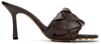 Bottega Veneta Brown Intrecciato Lido Heeled Sandals