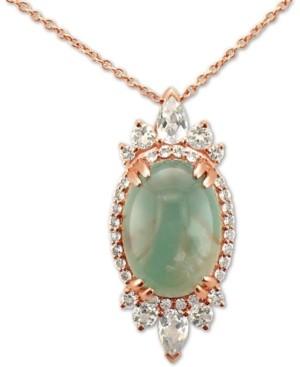 "LeVian Le Vian Peacock Aquaprase (14 x 10mm) & Vanilla Topaz (1 ct. t.w.) 18"" Pendant Necklace in 14k Rose Gold"