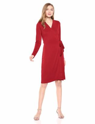Lark & Ro Amazon Brand Women's Signature Compact Matte Jersey Long Sleeve Wrap Dress