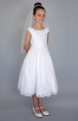 Us Angels Embroidered Cap Sleeve Dress