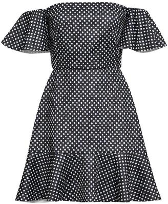 Saloni Amelia Off-the-shoulder Polka-dot Neoprene Mini Dress