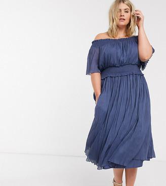 ASOS DESIGN Curve bardot shirred midi dress in dusky blue