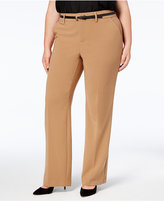 Charter Club Plus Size Belted Tummy-Control Pants, Created for Macy's