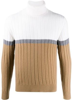 Eleventy Colour-Block Roll Neck Sweater