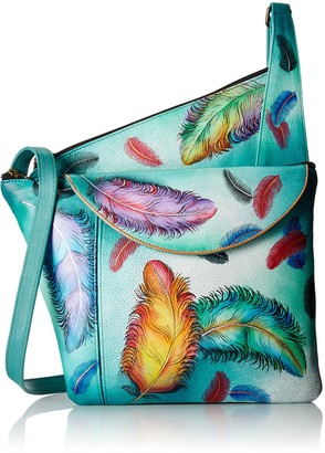 Anuschka Women's Genuine Leather Asymmetric Slim Crossbody/Organizer/Purse| Hand Painted Original Artwork | Floating Feathers
