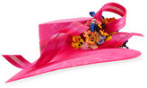 Philip Treacy Large Downturn Hat w/ Ribbons & Floral Trim, Orchid/Multicolor