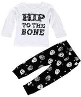 Mapletop 1Set Boys Letter Print T-shirt Tops+ Skull Head Print Pants Outfits (9M, )