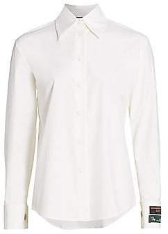 Gucci Women's Logo-Cuff Poplin Button-Front Shirt