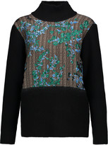 Marni Paneled wool, silk and cashmere-blend turtleneck sweater