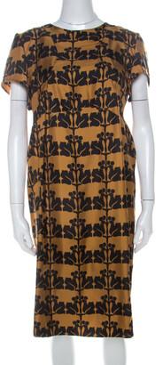 Marni Mustard Yellow and Black Printed Silk Twill Short Sleeve Shift Dress L