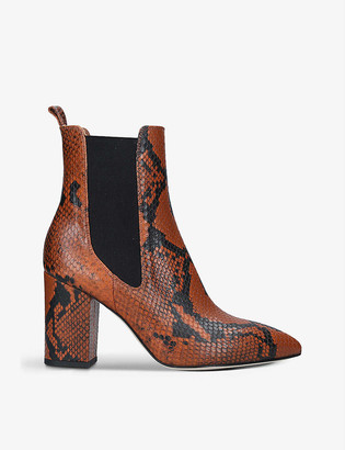 Paris Texas Snakeskin-embossed leather heeled ankle boots