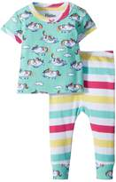 Hatley Roly Poly Unicorns Short Sleeve Pajama Set Girl's Pajama Sets