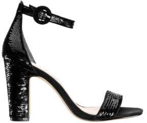 Nina Sianna Sequin Block Heel Sandals
