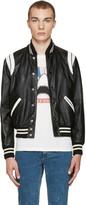 Saint Laurent Black and White Leather Teddy Bomber Jacket