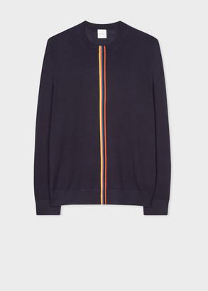 Men's Dark Navy Merino Sweater With Central 'Artist Stripe'