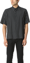 Robert Geller Overdyed Stripe Short Sleeve Shirt