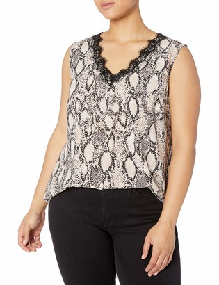Nine West Women's Plus Size Sleeveless Printed V-Neck TOP with LACE Detail