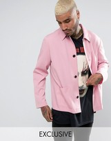 Reclaimed Vintage Inspired Striped Coach Shirt In Pink