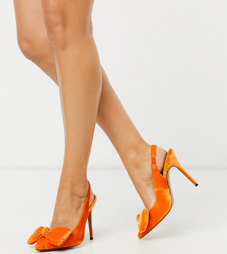 ASOS DESIGN Wide Fit Pheebs slingback stiletto heels with bow in orange velvet