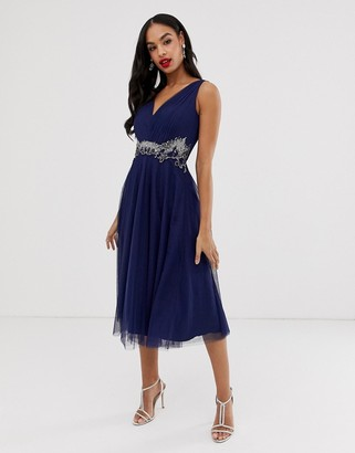 Little Mistress v neck tulle skirt midi dress with embellished detail-Navy