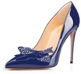 FSJ Wedding Pumps for Women Pointed Toe Stiletto Heel with Rhinestone Bowknot Shoes Size 12