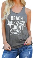 KOINECO Women's Don't Care Print Beach Tank Tops