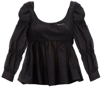 Brock Collection Roero Puff-sleeve Cotton-blend Blouse - Black