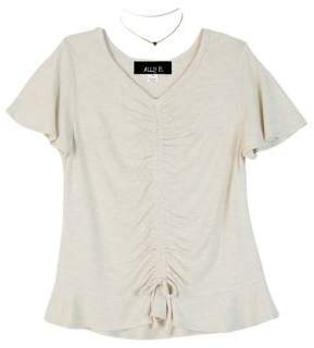 Ally B Girl's Ruched Lace-Up Top With Necklace