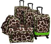 American Flyer 5-piece Animal-Print Spinner Luggage Set